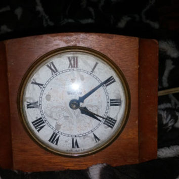 Loverly Vintage Alarm Clock Westclox Electric Sheraton Maple Wood Table Clock USA - Does Not Work Properly - Great for Restoration and Parts