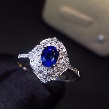 Fine Jewelry Real 18K White Gold 100% Natural 1.5ct Blue Sapphire Gemstone 18k Gold Diamonds Stone Female Ring for Women Rings