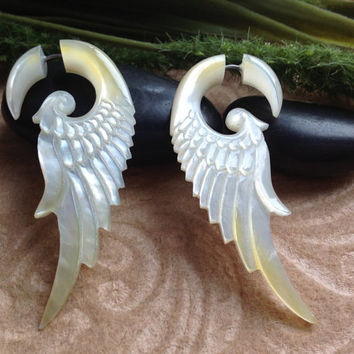 "Fake Gauge Earrings, ""Petite Wings"" Mother of Pearl, Hand Carved, Naturally Organic, Tribal"
