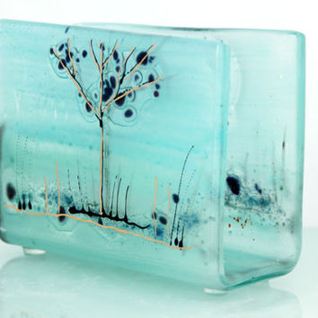 Fused Glass art napkin holder, light  blue  landscape