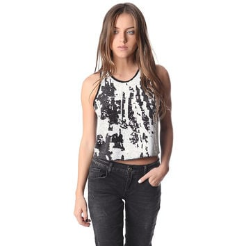 Crop top with sequin embellished design on the front by Q2 Store