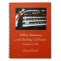 90th Birthday Party Guest Book, Antique Organ Notebook