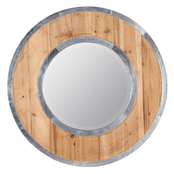 Cooper Classics 40383 Mallin Light Distressed Wood Mirror w/ Silver Trim