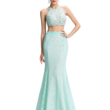 Grace Karin Pale Turquoise Two Piece Prom Dresses Lace+Satin Homecoming Dresses 2016 Sequin Beaded Mermaid Prom Dresses GK44