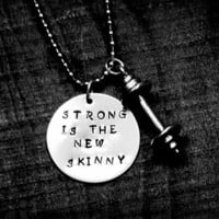 Strong is the new Skinny necklace with pewter by 321GoStuff