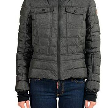 Moncler Women's AUL Gray Down Hooded Parka Jacket Coat Sz 1 US S