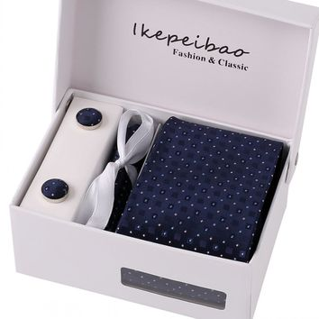 Mans Tie Striped Dots: Blue