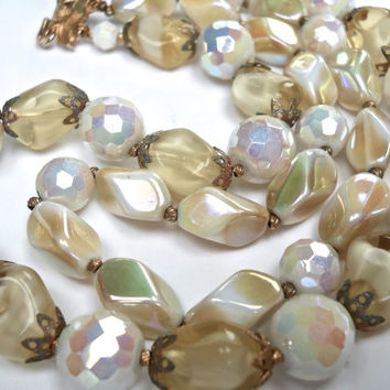CROWN TRIFARI 2-Strand Glass Necklace, Iridescent Pastel Colors, Signed with Tag....Vintage