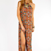 Slitted Paisley Maxi Dress $46