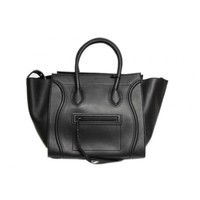 Celine Black Smooth Leather Small Phantom Luggage Tote Bag