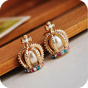 Korean Pearls Cross Ear Studs Crown Earring Accessories = 4806944388