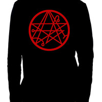 Necronomicon Gate Alchemy SymbolMen's Long Sleeve T-Shirt Occult Clothing HP Lovecraft