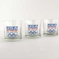 1992 USA Olympic Glasses Set of 3, Vintage 1992 Team USA Lowball Rocks Glasses