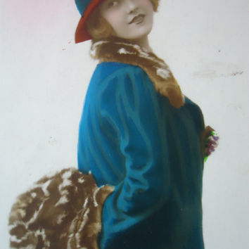 Antique french flapper girl postcard - blue winter coat fur, muff, hand tinted art deco rppc 1920 1940, vintage postcard