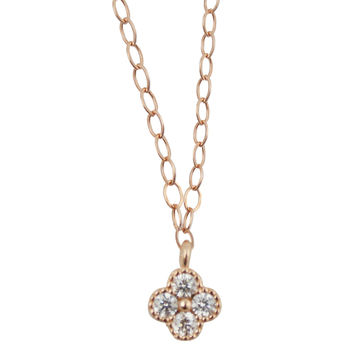 Tiny Clover Necklace in Rose Gold