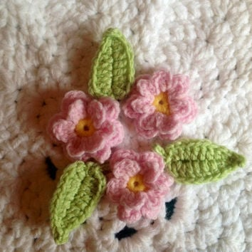 Embellishments- Hand Crochet Flower Appliques- Set of 6- Sunshine Yellow, Princess Pink and Key Lime Pie Green