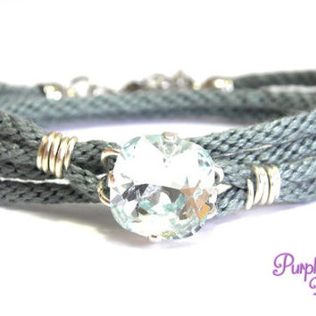 PEONY Wire wrapped Kumihimo Wrap Bracelet, Braided Wrap Bracelet with Swarovski Crystal Stone - Smoky Blue/Light Azore