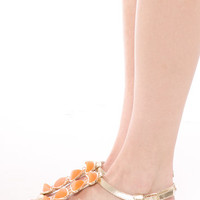GOLD T STRAP COLORED STONE SANDALS