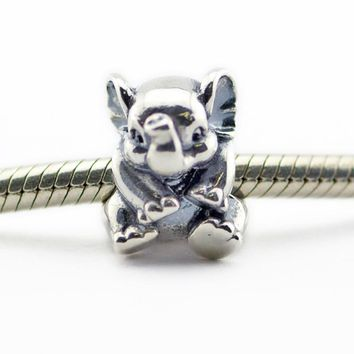 CKK 100% 925 Sterling Silver Lucky Elephant Beads for Jewelry Making Fit Charm Bracelets Diy Fine Jewelry Free shipping PF399