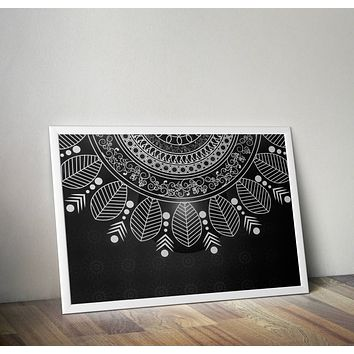 Reiki Charged Black and White Mandala Poster Bohemian Art Print Poster  Design no frame 20x30 Large
