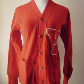 60s Letterman Sweater Vintage 1960s Red Sweater Cardigan Boho Hippie Knit Sweater Long Button Down Clothing Athletic Sweater Varisity Letter