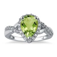 1.50 Carat Pear Shape Peridot and Diamond Ring in 10K White Gold