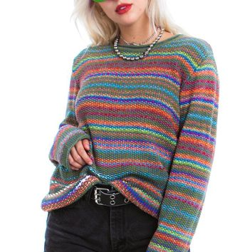 Vintage 90's Rainbow Fish Pullover - One Size Fits Many