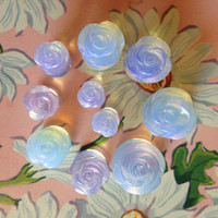 "Rose Carved Opalite Stone Plugs 2g 0g 00g 1/2"" (12mm)"