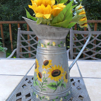 Watering Can Pitcher Sunflowers Hand Painted Galvanized Metal
