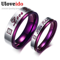 1 Pair Purple Stainless Steel Rhinestones Wedding Couple Rings Love for Men Women Anel Masculino Anelli Uomo Bague Homme CR102