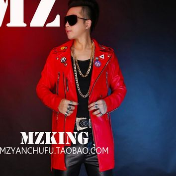 S-5XL! Men's new fashion DJ red long Locomotive leather jacket coat singer costumes formal dress plus size clothing