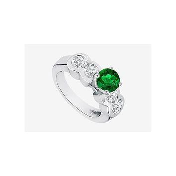 Engagement Ring Diamond and Natural Emerald Prong Set in 14K White Gold 2.20 Carat TGW