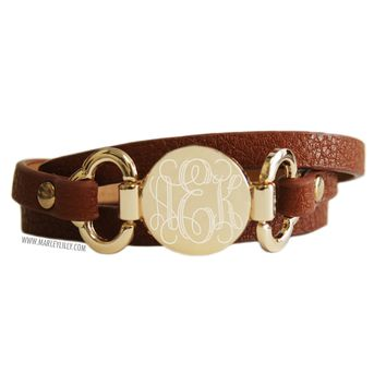 Monogrammed Brown Leather Wrap Bracelet | Accessories | Marley Lilly