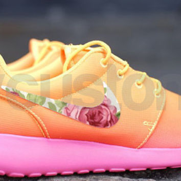c906f8517213 Nike Roshe Run Atomic Mango Ombre Rose Garden Swoosh Print V3 Edition  Custom Womens