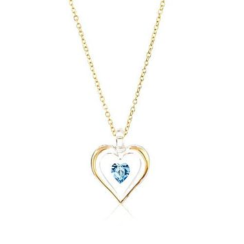 Glass Baron 'March' Birthstone Gold Trim Heart Necklace