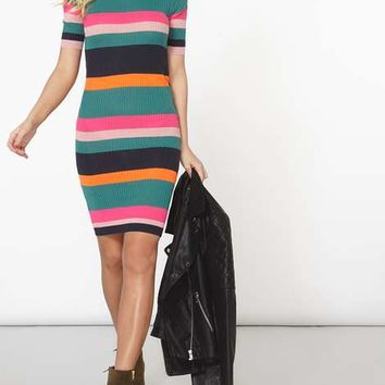 **Noisy May Multi Coloured Knitted Striped Dress - View All New In - New In