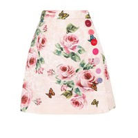 Jacquard cotton and silk skirt