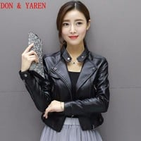 Women's leather jacket women's spring leather clothing outerwear jackets and coats ladies white leather motorcycle leather coats