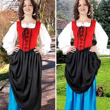 Double Layer Medieval Long Skirt Black Turquoise