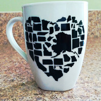 USA States Heart Ceramic Custom Personalized Coffee Tea Hot Chocolate Mug Cup Blue Pink Black Birthday Gift Housewares Kitchen