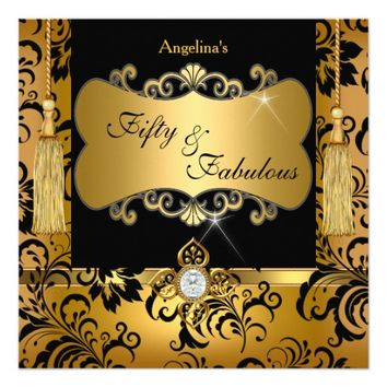 "Fabulous 50 Gold Black Damask Birthday Party 5.25"" Square Invitation Card"