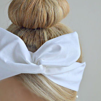 White Dolly bow, hair bow head band, hair bow