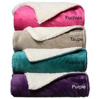 Bright Solids Sherpa Decorative Throw Blanket