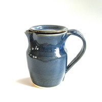 Small Stoneware Pitcher in Denim Blue - handthrown pottery