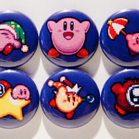 "Set of 6 Kirby 1"" Pinback Buttons"