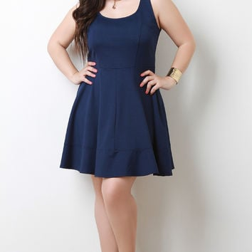 Scooped Neck Sleeveless Fit And Flare Dress