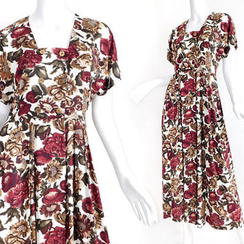Sz 8 90s Floral Print Rayon Dress - Women's Vintage Rose Print Short Kimono Sleeve Long Dress - White Burgundy Brown - Romantic Maxi