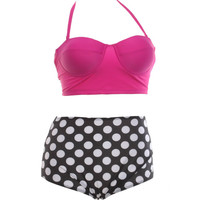 Plus SizeXL Bikini High Waist Swimsuit Polka Dot Print Padded Push Up Bikinis Set with Underwire Swimwear Biquini Tankini