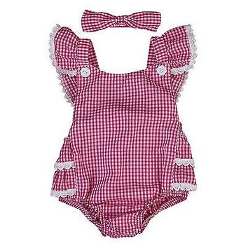 Cute Infant Baby Girls Plaid Lace Floral Butterfly sleeves Romper Jumpsuit + Headband Outfits