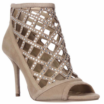 MICHAEL Michael Kors Yvonne Caged Open Toe Dress Sandals, Dark Khaki, 5.5 US
